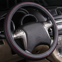 Universal Red Leather Car Hub Steering Wheel Cover Durable 37 38cm Breathable
