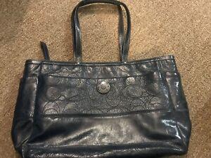 Authentic Coach Signature CLogo Stitched Patent Leather Diaper Bag Purse Tote XL