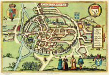 Old Map Canterbury in 1588, plan by Georg Braun - repro, vintage, historical