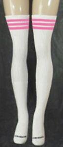 BubbleGum Pink Striped Thigh High Tube Socks 35-8