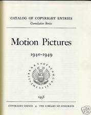 CINEMA MOTION PICTURES CATALOG 1894-1949 LIB OF CONGRES