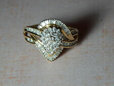 10K YELLOW GOLD .75 TCW DESIGNER DIAMOND RING     SIZE 7