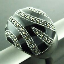 RING GENUINE HALLMARKED REAL 925 SOLID STERLING SILVER ONYX MARCASITE DESIGN 9