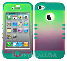 KoolKase Hybrid Silicone Cover Case for Apple iPhone 4 4S - Pink/Yellow Frost