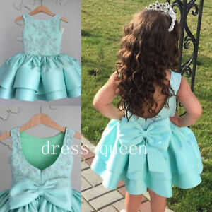Beaded Blue Satin Tieres Baby Toddler Pageant Dresses Birthday Gown Little Girls