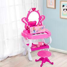 Homcom Kinder Prinzessin Kosmetiktisch Schminktisch Friesiertisch mit Klavier