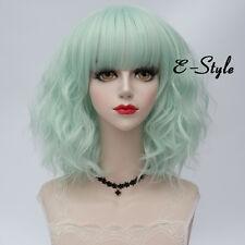 Lolita 35CM Medium Curly Lithg Mint Green Women Cosplay Harajuku Wig With Bangs