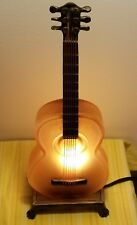 Amber Art Frosted Glass Acoustic Guitar Lamp With Rocker Switch 15""
