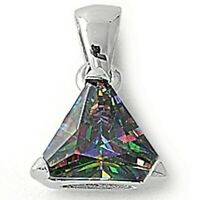 2 ct. Mystic Topaz Trillion Solitaire Pendant Necklace in Solid Sterling Silver