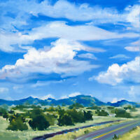 Original Southwest Landscape Painting Santa Fe Clouds Contemporary Impressionism