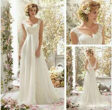 Vestido De Novia 2015 Blanco/Marfil Chifón Vestido de Boda Talla 6 _ 16 Reino Unido