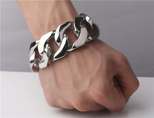 Stainless Steel Bracelet�from Usa】10 inch Rocker Biker Gothic Cuban Curb 31mm