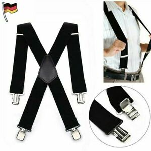 Hosenträger starke 50mm Damen Herren Extra Breit Hosen X-Form mit 4 Clips DE