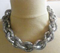 imposant collier rétro couleur argent grosses mailles tressés B1
