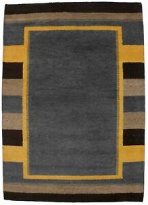 Hand-Knotted Indo-Gabbeh 6X8 Tribal Design Geometric Oriental Rug Home Carpet