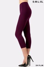 Womens Capri Leggings Cotton 3/4 Cropped High Waist Basic Workout Yoga Pants