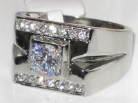 TTK316PB MENS MANS 1.850CT SOLITAIRE  SIMULATED DIAMOND RING STEEL NOT TARNISH
