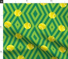 Green Geometric Tennis Sport Balls Wimbledon Fabric Printed by Spoonflower BTY