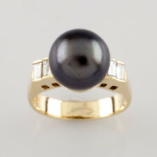 18k Yellow Gold 9.5 mm Tahitian Pearl and Diamond Ring 0.25 ct Size 4.5