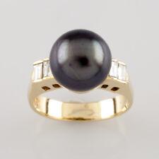 18Ct Oro Amarillo 9.5Mm Tahitiano Perla y Anillo con Diamante 0,25 Ct Size 4.5