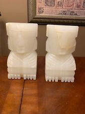 EASTER ISLAND TIKI Carved Stone Alabaster Marble Onyx Bookends HEAVY SET
