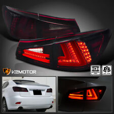 For Lexus 2006-2008 IS250 IS350 Red Smoke Lens LED Rear Tail Brake Lights Pair