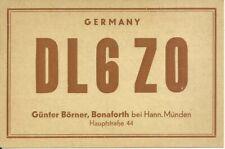 Vintage DL6ZO Bonaforth Hann. Munden Germany 1955 Amateur Radio QSL Card