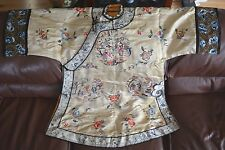 19/20C Antique or Vintage Chinese Embroidered Silk Yellow Robe