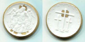 """Porzellanmedaille mit Golddekor 1922 """"Oberammergau"""" ca.45mm  #17"""