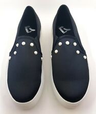 REPORT Womens Black Satin AIOLI PEARL Casual Fashion Slip-on Sneakers - 7 - NEW