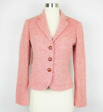 J. Crew Women's 2  Light Pink tweed knit wool blazer long sleeve jacket coat NEW