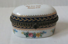 OVAL HINGED PILL BOX IMPERIAL PORCELAIN ~Romans 8:28 WHITE/ GOLD AND FLOWERS