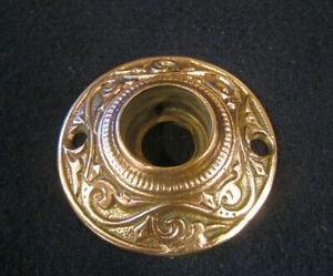 Old Antique Eastalke Ornate Bronze Round Mortise Door Knob Escutcheon Rose R&E