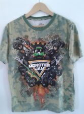 Monster Jam Mens Graphic T shirt Large Short Sleeves 100% Cotton Camo Green