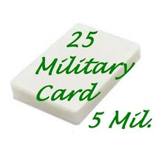 25 Military Card Size 5 Mil Laminating Pouches Laminator Sheets 2-5/8 x 3-7/8