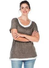 Sheego at Kaleidoscope Plus Size 26 28 Taupe Crinkle 2 in 1 Effect TOP Casual