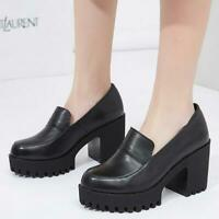 Womens Spring Punk High Chunky Heel Platform Slip on Loafers Preppy Pumps Shoes