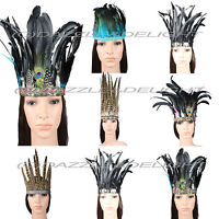 INDIAN FEATHER HEADDRESS CARNIVAL FEATHER HEADPIECE FESTIVAL FASHION HAIR CROWN
