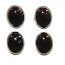 Black Agate 10x8mm with 4mm dome Cabochons Set of 4 (2064)