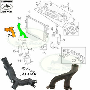 JAGUAR COOLING SYSTEM OUTLET PIPE TUBE KIT XK XF XJ F-TYPE F-PACE C2Z28536 OEM