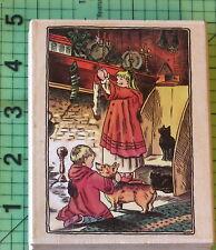 PSX Tasha Tudor K7207 Children Hanging Christmas Stockings rubber stamp 1999