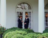 President Ronald Reagan with Senator Dan Quayle at White House Photo Print