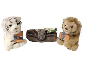 3x WWF Plüschtier Plüsch Löwe Tiger Weiß Braun + Nashorn Schlamper Mäppchen NEU!