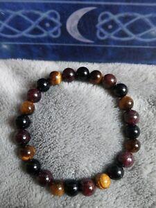 Willpower crystal Healing Bead Bracelet tigers eye, red garnet. Black tourmaline