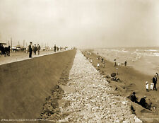 1910's Seawall and Beach, Galveston, Texas Vintage Old Photo 8.5
