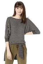 VELVET By Graham Spencer Candida Rib Stripe Crew Shirt Top Charcoal S $128 B11