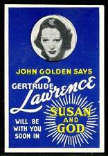 """USA Poster Stamp - c1937 promoting """"Susan and God"""" Show (on Broadway)"""