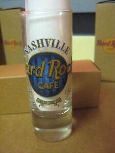 """Hard Rock Cafe 4"""" Tall Double Shot Glass & Box Blue Nashville # 39"""