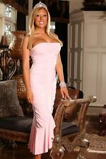 Pink Midi Dress Pastel Strapless Mermaid Gown Prom Homecoming Formal 6034