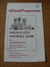 07/02/1970 Lincoln City V Aldershot (léger pli & Stylo MARQUER AU DOS). aucun Evidem